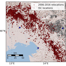 All the detected and relocated earthquakes from 2006 to 2016 in red. White dots represent earthquakes that happened in the same time period (International Seismological Centre 2014) and are not part of faulting along IFS.