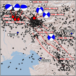 Locations of earthquakes from SHEEC catalogue (Stucchi et al. 2013) are shown as white dots and rectangles with magnitude and date (aproximate location for 1348, 1895 and 1956 earthquakes) with representation of focal mechanisms. Gray dots represent earthquakes detected in the area of interest by USGS between 1977 and 2006. Clearly majority of earthquakes happened in the Friuli region, Bovec region in the northern part of Idrija fault system and in the southern part of Idrija fault system.