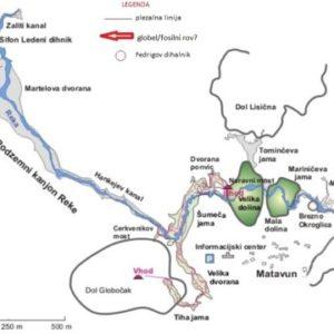 Tloris Škocjanskih jam z vrisano plezalno linijo, Fedrigovim dihalnikom in morebitnim fosilnim rovom